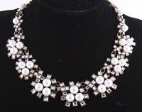 2014 fashion Za Chokers necklace Wonderful Alloy Pearl Statement Jewelry For Female Evening Dress