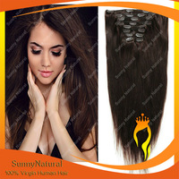 120g/160g Brazilian Virgin Hair Clip in Human Hair Extensions Remy Hair Clips on Dark Brown Color#2 Rosa Queen Hair