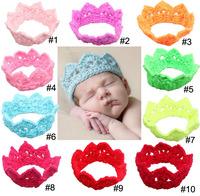 10color Newstretch girl baby crochet headband high quality handmade crown headband(TSXP1030)