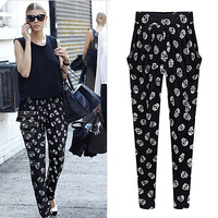 Fashion women's elastic waist casual trousers loose skull chiffon pants harem pants female skinny pants pantalones plus size 3XL