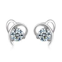 2014 fashion jewelry for women new design free shipping high quality geometric heart zircon big stud earrings  wholesale