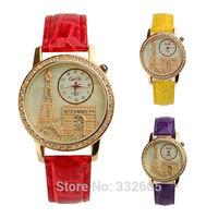 2014 New Fashion Womens rhinestone Eiffel Tower Watches Luxury Crystal Casual Clock Female Ladies Dress Quartz Wristwatches Gift
