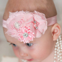 New 8 color baby hair accessories headband shabby chic flower headwear (TSXP1033)