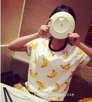 New 2014 Summer Korean Bananas Print Cotton Black Collar Short Sleeve T-shirt Tops Loose  girl t shirt women Free Shipping