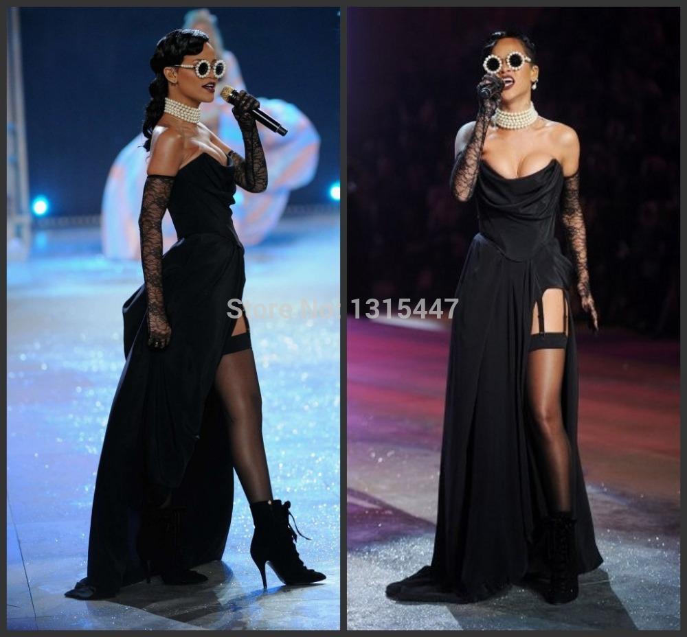 Rihanna Black Strapless Prom