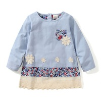 2014 new hot girl dress high quality designer brand spring & autumn cotton girl's blouses with flowers kids lace blouse