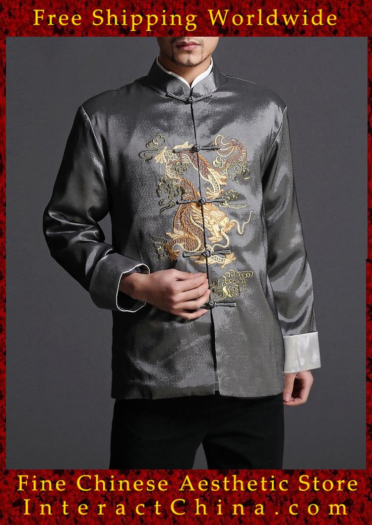 élégante. gris. kung fu hommes blazer veste rembourrée dragon, shirt.- 100% soie, #103