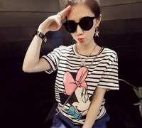 New 2014 Summer Korean Classical Stripe Cartoon Print Short Sleeve Loose Casual  T-shirt Tops girl t shirt women Free Shipping