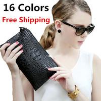 2014 new fashion Guaranteed Quality 100% genuine leather cowhide purse 16 Colors Crocodile pattern women bag
