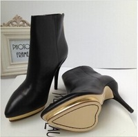 women's thin high heel ankle boots fashion leather pointed toe love lady's shoes waterproof platform winter boots black size 39