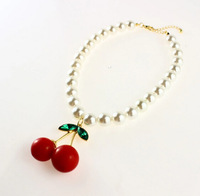 Min Order $10(mix Order)  Vivi Cute Red Cherry Pendant Short Necklace,Fashion Wholesale