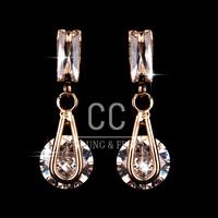Free Shipping 18k Gold Plated Rectangle Zircon Drop Dangle Crystal Earrings Fashion Jewelry Christmas Gift (CC Earrings C-E0020)