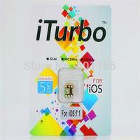 Wholesale - NEW IOS7.1-7.x with retail box  Nano iTurbo sim card for GSM CDMA lPhone 5 iOS 6.0 ~ iOS 7.1  sim card
