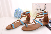 Free Shipping Wholesale 2014 New Fashion Women's Bling Color Block Narrow Strips Flip Flops/Thong Sandals/Flat Gladiator Sandals
