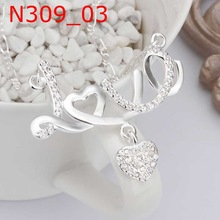 Promotion free shipping wholesale 925 silver necklace 925 silver fashion jewelry Love Heart Necklace SMTN309