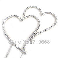 STOCK!10pcs/lot,HEART Diamante rhinestone Wedding Anniversary Birthday party Cake Topper FACTORY DIRECT