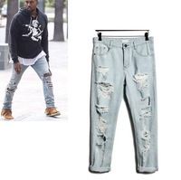 2014 new fashion hip hop kanye hole jeans baggy pants loose style ripped jeans for men