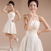Short Bridesmaid Dresses 2014 New Fashion Custom Made Strapless Wedding Party Dresses Vestido De Madrinha De Casamento Cortos