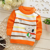Retail 2014 children / Baby cartoon o-neck sweater , Baby pullover Sweater .stripe sleeve Sweater .