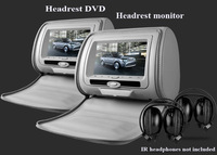 "one pair 7""inch car headrest DVD player,1PC DVD player + 1PC monitor,with zipper cover,USB/SD,32 bit wireless Game,IR,FM,for car"