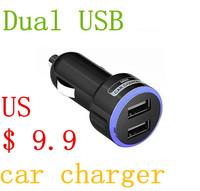 Dual USB car charger mobile phone charger luminous automotive supplies Cigarette lighter power