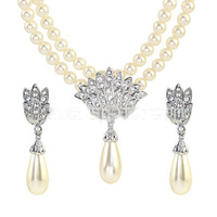 Italina. Rigant products sell like hot cakes, super zircon pearls  necklace + earrings, the bride wedding dress #@220368 RAA