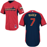 2014 All Star Baseball Jerseys Twins #7 Mauer Jersey Blue Red Color Cool Base Jersey Stitched Size 48-56 Mix Order