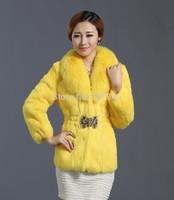Luxury Ladies' Fashion Genuine Natural Rabbit Fur Jacket Coat Fox Fur Collar Winter Women Fur Short Outerwear Coats VK1478