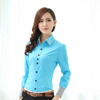 Spring 2014 Fall Formal Blouses Women Blue Shirts Long Sleeve Ladies Office Uniform Blouses Work Clothes Tops Blusas Feminina