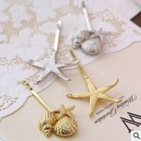 2014 New Fashion Women Hair Accessories Metal Alloy Star Shell Hair Clips Barrettes 2pcs/Lot  1 star+1 shell