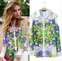 European Style Print Flower Fashion Geometrical Lady Blouse Strapless Turn-Collar Long Sleeve Chiffon Blouse Womans Shirts t626