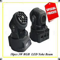2pcs/lot 18X3W MINI LED Moving Head Stage Light 4CH 54W Wash