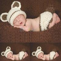 Cute Coffee + Beige Bear Newborn Beanie baby Hat + Short SET Costume handmade Knit crochet photography props hats Free Shipping