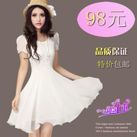 Vestidos Femininos Time-limited Vestido Office Dress In 2014 The New Summer Clothing And Chiffon Dress Female Slim Eugen Yarn