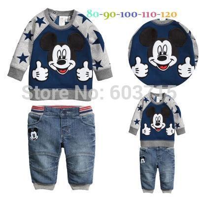 L'arrivée de nouveaux 2014 baby boys sweater+jeans 2 pieces costume. chiffon enfants garçons ensemble de haute qualité de coton vêtements vêtements pour enfants ensemble