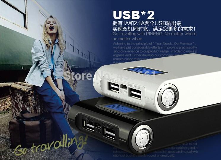 1pcs Free shiping Power Bank LCD 12000mAh Dual USB Charger Battery External Battery Charger Powerbank(China (Mainland))