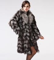2014 Luxury Lady Genuine Natural Fox Fur Coat Jacket Winter Women Fur Trench Outerwear Coats Overcoat VK1470