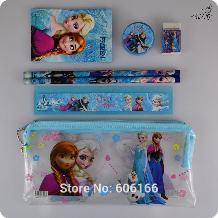 10 Sets FROZEN Stationery Set Pencil case Ruler/Sharpener/Eraser School Supplies Elsa