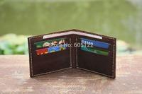 Men's Billfold Short Wallets Handmade Vintage Distressed Leather 4 Card Pockets Cash Slot -V013-1