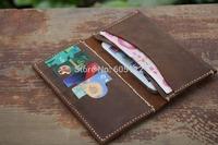Best Gift Handmade Long Wallet Distressed Leather iPhone Case Purse 4 card holder Vintage-V006-1