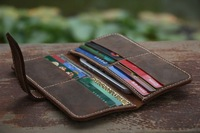 Handmade Long Wallet iPhone Bag 12 Card Pockets with Distressed Leather Men's Gift-V001-1