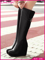CooLcept Free shipping over knee wedge long boots women snow fashion winter warm footwear shoes boot P14671 EUR size 34-39