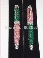 2014 Hot Free shipping(50pcs/lot) wholesale Fashion 10.5cm twist fade colors AKA crystal ballpoint pen cute glitter pen