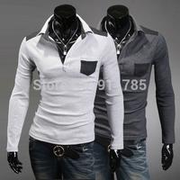 2014 new Autumn unique Mixed colors POLO Lapel shirts men, brand casual slim fit POLO shirts for men,tees,M-XXL,P12