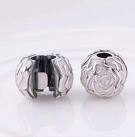 925 Sterling Silver Pink Enamel Rose Garden Charm Bead Fit European Jewelry Bracelets Necklaces & Pendants