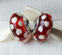2pcs 925 Sterling Silver Screw Red Murano Glass Charm Bead Diy Jewelry Fits European European Style Bracelet Necklace & Pendant