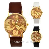 High Quality Lady Retro World Map Watch Clock 2014 New Fashion Leather Straps Women Casual  Quartz WristWatches Relogio Feminino