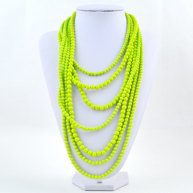 Landy brand fashion multi strands acrylic beads necklace woman 7 stack layered long chunky statement winter color necklaces
