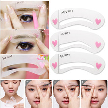 New 2014 Free Shipping Eyebrow Stencil Tool Makeup Eye Brow Template Shaper Make Up Tool 3 Styles
