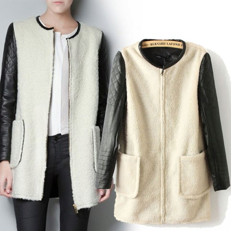 CL519 winter wind in Europe and America with the money counter stitching leather ladies jacket sleeve stitching ladies jacket an(China (Mainland))
